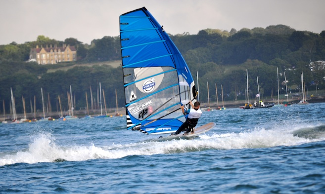 Wind and Kite Surfing Olympic Wind Surfer Nick Dempsey in Cowes Harbour