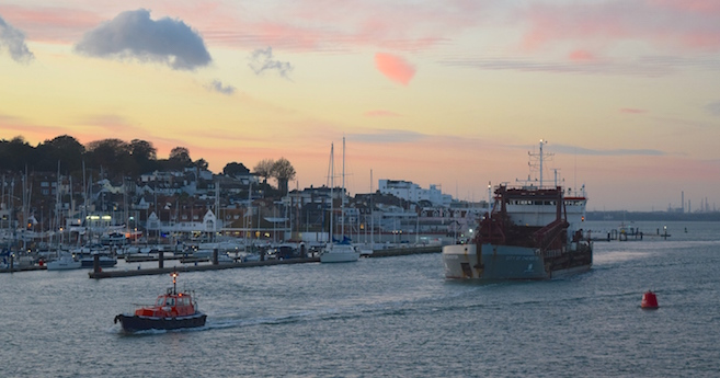 City of Chichester enters Cowes Harbour with pilot boat
