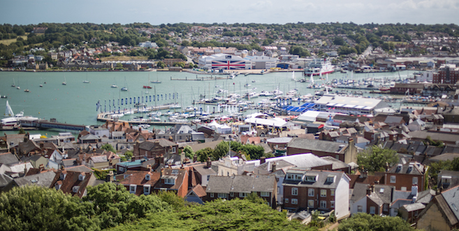 Aerial view of Cowes Harbour by Olek Creations