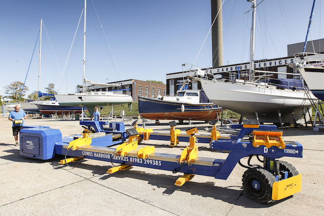 Boat mover at Boatyard