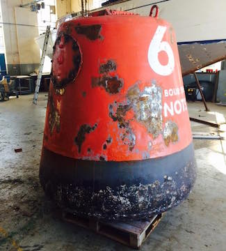 No 2 red buoy at Kingston for refurbishment