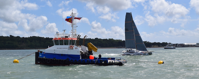 Moorings laid by KMS for the Round the Island Race finish line boats
