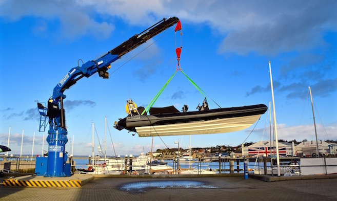 Launching a RIB at Shepards Wharf