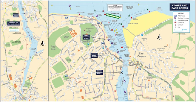 Maps of Cowes, East Cowes, Newport and the River Medina
