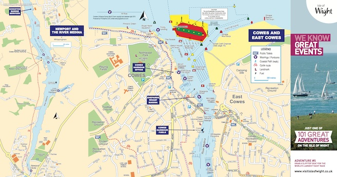 Map of cowes and river medina isle of wight - Medina swimming pool isle of wight ...