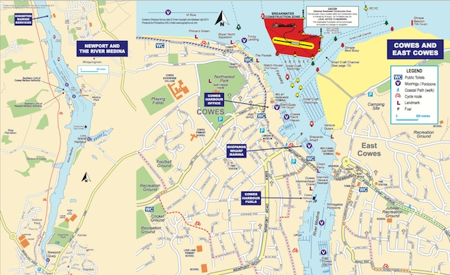 Map Of Cowes And River Medina Isle Of Wight
