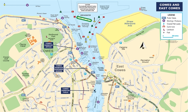 Map of cowes and river medina east cowes and newport on - Medina swimming pool isle of wight ...