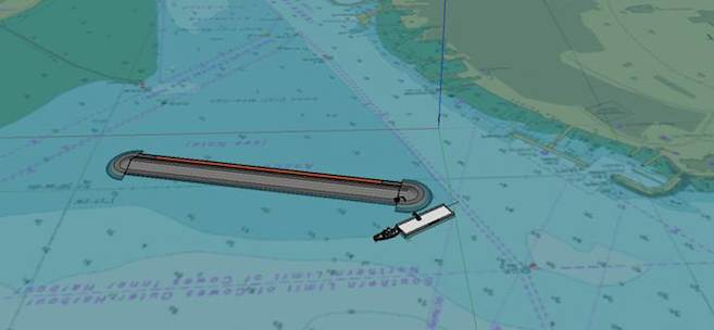 Visual of Cowes Breakwater construction 2015