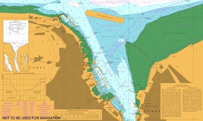 UKHO charts for Cowes Harbour, River Medina, Southampton Water