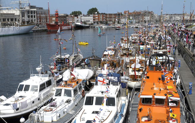 The 2015 Little Ships gathered together with several of the escort boats in the Bassin du Commerce, Dunkerque