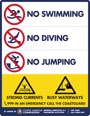 No swimming - diving - jumping sign